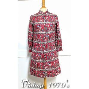 Vintage 1970s Shirt Dress Egyptian print size 6